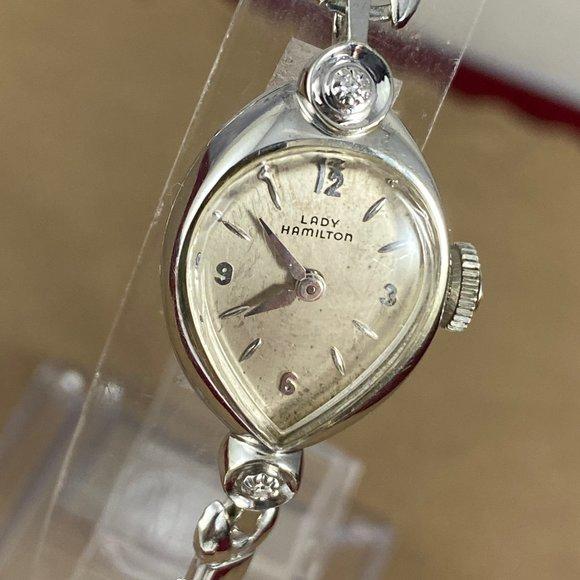 Vintage 14K White Gold Lady Hamilton 22Jewels
